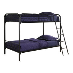 Ameriwood - DHP Twin over Twin Bunk Bed in Black - Ameriwood - Bunk Beds - 3135196 - Simple sleek secure stable and space-saving DHP's Twin-Over-Twin Metal Bunk Bed meets all your needs and expectations. Easy to assemble the bunk bed has been designed for the utmost safety providing full-length guardrails and a ladder that attaches to the frame. Accommodating two twin mattresses the black metal frame will last through years of rough play whether hosting twins friends family or siblings.