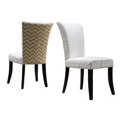 Great Deal Furniture - Monroe Fabric Dining Chairs, Set of 2, Ivory/Beige - The Monroe fabric dining chairs are perfect for sprucing up your dining room decor. These contemporary chairs are stylish and the bold patterned backrest will enhance any dining table, from the traditional to the modern taste. Need decorating ideas for your dining room? These chairs feature two-toned upholstery, and their flared legs match the shape of the backrest for an elegant feel. Place these chairs in your dining space or kitchen, or use them as extra seating in your living room, or office.