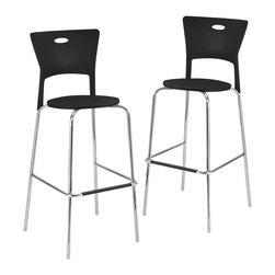 Lumisource - Mimi Bar Stools Black, Set of 2 - Two is always better than one, especially if they match. Bring home this pair of stylish bar stools and turn your ordinary kitchen counter into a gathering place. Informal meals turn into intimate tastings when you add these into the mix.