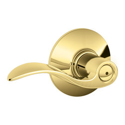 Schlage - Schlage Accent Bright Brass Bed/Bath Lever - Bright Brass Bed/Bath Lever belongs to Accent Collection by Schlage Since 1927, Schlage Lock Company has been committed to building the highest quality, most secure, best valued locks in the industry. Using the finest materials, every Schlage lockset is precision built to meet and exceed industry standards. That means superior performance and longer life. Schlage residential products are backed by a Lifetime Limited Mechanical Warranty. Other Schlage brands include Schlage Accents, Ives, and Kryptonite.  Lever (1)