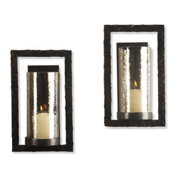 Kathy Kuo Home - Pair Tomar Contemporary Oiled Bronze Rectangle Wall Sconce - Bold modern shapes and the gentle glow of candlelight come together in the Thomas wall sconce.  A perfect addition to contemporary rooms that could use an ambiance upgrade.