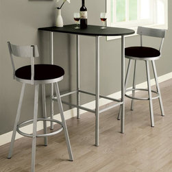 Monarch Specialties - 3-Pc Bar Set in Silver Finish - Includes bar table and two bar stools. Table: . Sleek tube legs and a black top. Moon shaped piece can be placed up against a wall to save space. Black and silver finish. 35.75 in. W x 24 in. D x 41 in. H (12 lbs.)Stool: . Swivel barstool. Sleek legs and low profile seat back. Leatherette cushion seats. Footrest for added comfort. Made from metal. Silver finish. 22 in. Dia. x 43 in. H (12 lbs.)