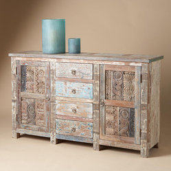 Vintage Wood Block Sideboard