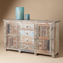 Vintage Wood Block Sideboard - I've been hunting for an old wood console table that might work for holding stacks of plates, platters of goodies and a giant punch bowl. I love the simple coloring and intricate design on this one.
