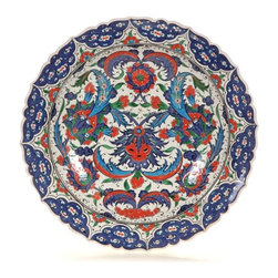 "Classical Iznik Floral Deep 14"" Decorative Plate - Classsical Iznik Floral Deep 14"" Decorative Plate"