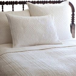Taylor Linens - Abigail Cream King Quilt - The embroidery on this quilt is so lovingly detailed, you'll swear it's a handmade heirloom. Voluptuous florals and beguiling borders are rendered in cotton percale, for a look that's vintage inspired but conveniently machine washable, for years of snuggable comfort.