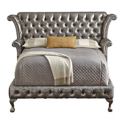 """Haute House - Carter Platinum Queen Bed - METALLIC GRAY - Haute HouseCarter Platinum Queen BedDetailsHandcrafted.Alder wood frame.PVC upholstery.93""""W x 89""""L x 61""""T.Made in the USA; fabric is imported. Boxed weight approximately 359 lbs. Please note that this item may require additional delivery and processing charges.Designer About Haute House:Haute House is a Hollywood-based design and manufacturing company that creates haute couture furnishings for the home. Designer and owner Casey Fisher has been designing furniture for years as an upholstery textile and retail space stylist. Instead of designing a line offering just one look the Haute House line consists of three looks that offer something for every taste. However there is one element present in every Haute House design a great sense of style."""