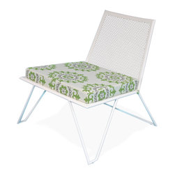 Haskell - Pearl Series 9 Easy Chair with Suzani Cushion - Spectacular design, complete comfort and ecofriendly consciousness for your deck, patio or terrace. This high-style, low-maintenance piece is crafted from 85 percent recycled content stainless steel with a powder coating that releases little to no VOCs.