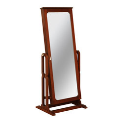"Powell - Powell Marquis Cherry Cheval Jewelry Wardrobe - Features a full length adjustable mirror that opens to reveal deep luxurious, brown lined jewelry storage compartments. The full length mirror adjusts to three different angles for dressing or grooming. Convenient jewelry storage for rings, earrings, bracelets, broaches, and accessories. Finished in rich ""Marquis cherry"" with ""Antique brass"" hooks are ideal for necklaces and chains. Shiny chrome exterior mirror knobs for adjustments. Some assembly required."