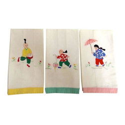 Used Vintage Asian Hand Towels - Set of 3 - The most whimsical set of vintage hand towels, each hand stitched with a different scene and border color. The braids on each are not attached to the linen and flow freely in three dimension. When folded: 10in. x 6in. One towel has slight staining on the back (pictured).