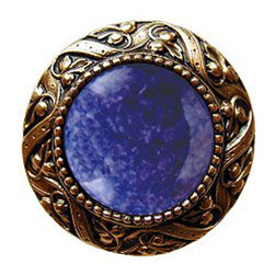 "Notting Hill - Notting Hill Victorian Jewel/Blue Sodalite Knob - 24K Gold Plate - Notting Hill Decorative Hardware creates distinctive, high-end decorative cabinet hardware. Our cabinet knobs and handles are hand-cast of solid fine pewter and bronze with a variety of finishes. Notting Hill's decorative kitchen hardware features classic designs with exceptional detail and craftsmanship. Our collections offer decorative knobs, pulls, bin pulls, hinge plates, cabinet backplates, and appliance pulls. Dimensions: 1-5/16"" diameter"