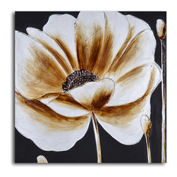 My Art Outlet - Coffee and white poppy Hand Painted Canvas Art - Linked to sleep and medicinal use, the poppy is a flower rife with allure and intrigue. This stunning rendition is crafted by a single talented artist, utilizing acrylic paints on canvas stretched over a wooden frame. This ready-to-hang, one-of-a-kind brings some of the poppy's enduring mystique to the walls of your home.