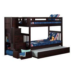Atlantic Furniture - Cascade Staircase Bunk Bed Twin Over Twin / Trundle / Espresso - This Cascade Staircase Bunk Bed featuring classic mission styling in a rich espresso finish and constructed of solid wood using mortise and tenon joinery. The Stair Case can be set up at either end of the bunk and features drawers with metal euro glides and book shelves.