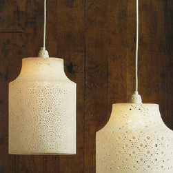 Medina Hanging Lamps - You'll think these translucent Medina Hanging Lamps are alabaster, but actually they are made from naturally colored resin. The detail on these shades allows light to shine through. Includes fifteen foot cord with standard plug end.