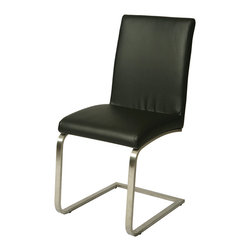 Pastel Furniture - Pastel Monaco Side Chair - Chrome - Leather Touch Black - The Monaco Side chair exemplifies handsome proportions and bold design. With simple lines mixed with curves for comfort, this beautiful chair adds style and elegance to the dining experience. The chair is upholstered in leather touch black with a sturdy Chrome legs.