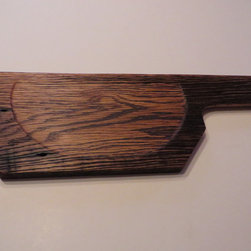 #1411 Hand-Carved Oak Serving & Cutting Board $50 - Functional & Beautiful. These pieces strike a balance between Beauty & Utility, Old & New, Rustic & Refined. Food-bearing surface is smooth, solid & practical. Clean with warm soapy water. FREE 4oz container of 100% FoodSafe BeesWax & Mineral Oil Conditioner with each purchase.