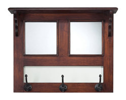 Sterling Industries - Mirror and Wood Wall Fixed Coat Hanger Furniture in Warm Walnut with Blackened I - Mirror and Wood Wall Fixed Coat Hanger Furniture in Warm Walnut with Blackened Iron by Sterling Industries