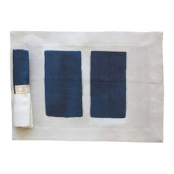Huddleson Linens - Seagram Linen Placemat (Set of Four) - Turn your tablescape into a unique work of art with these 100% Italian linen placemats. Inspired by murals from the 1950's painted by Mark Rothko, they feature two blue/black columns framed by a cream-colored border. The added bonus? They'll become softer with each washing.