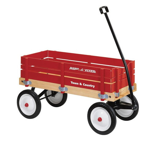 Radio Flyer Products - Radio Flyer Town & Country Wagon - Dr. Toy Best Classic Product. Extra-large body crafted of natural wood.  Bright red removable sides of select wood.  Durable steel wheels with real rubber tires for a quiet ride.  Extra-long handle for easy pulling.  Handle folds under for easy storage.  No-pinch ball joint keeps fingers safe.  Controlled turning radius prevents tipping.  Wood sides are easy to install and remove.  For ages over 1-1/2
