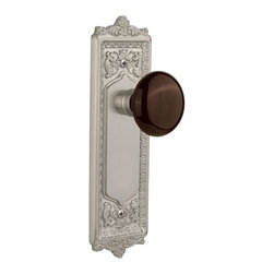 Nostalgic - Nostalgic Mortise-Egg and Dart Plate-Brown Porcelain Knob-Satin Nickel - With its distinctive repeating border detail, as well as floral crown and foot, the Egg and Dart Plate in satin nickel resonates grand style and is the ideal choice for larger doors. Adding our rich, Brown Porcelain knob only serves to compliment the warm, earthen hues in your home. All Nostalgic Warehouse knobs are mounted on a solid (not plated) forged brass base for durability and beauty.