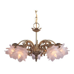 Crystorama - Crystorama Cecile Chandelier X-L-H-BO-564 - The combination of an ornate cast brass frame and soft frosted tulip glass make this hanging chandelier from the Cecile Collection really stand out.