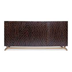 Kathy Kuo Home - Brass Inlay Hollywood Regency Faux Bois Contemporary Media Cabinet - Organic modern style takes a seriously luxurious turn in the wood grain pattern created by hand inlayed brass on a dark wood backdrop.  Distinctive and seriously stylish this console has just about every contemporary style covered from Deco to Asian and beyond.