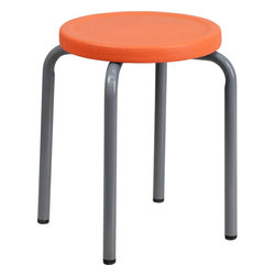 Flash Furniture - Flash Furniture Stackable Stool with Orange Seat and Silver Powder Coated Frame - This petite stool will be perfect in the classroom or home. Use in the garage or workshop when working in small areas.
