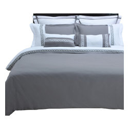 """Emma 3 Piece Duvet Cover Set - Full/Queen - White/Grey - The Emma Duvet Cover Set is a great addition to any bedroom. Featuring an embroidered Greek key design and wrinkle resistant microfiber fabric this duvet adds a bold new look to any bedroom. Set includes: (1) Duvet Cover 90x92"""" and (2) Pillow Shams 20x26""""."""