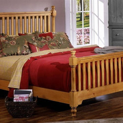 Vaughan Bassett - Slat Poster Bed in Pine Finish (Queen) - Choose Bed Size: QueenFull Size:. Includes slat poster headboard, slat poster footboard and wood rails with 3 1-inch slats. Slat poster headboard: 64 in. L x 3 in. W x 58 in. H. Slat poster footboard: 64 in. L x 3 in. W x 35 in. H. Wood rails: 76 in. L x 6 in. W x 1 in. H. Queen Size:. Includes slat poster headboard, slat poster footboard and wood rails with 3 1-inch slats. Slat poster headboard: 64 in. L x 3 in. W x 58 in. H. Slat poster footboard: 64 in. L x 3 in. W x 35 in. H. Wood rails: 82 in. L x 6 in. W x 1 in. H. Eastern King Size:. Includes slat poster headboard, slat poster footboard and wood rails with 6 1-inch slats. Slat poster headboard: 81 in. L x 3 in. W x 58 in. H. Slat poster footboard: 81 in. L x 3 in. W x 35 in. H. Wood rails: 82 in. L x 6 in. W x 1 in. H. California King Size:. Includes slat poster headboard, slat poster footboard and wood rails with 6 1-inch slats. Slat poster headboard: 81 in. L x 3 in. W x 58 in. H. Slat poster footboard: 81 in. L x 3 in. W x 35 in. H. Wood rails: 86 in. L x 6 in. W x 1 in. H. Pine finish. Assembly required
