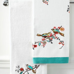 Lenox Simply Fine Bath Towels, Chirp Collection - I love the spacing and design of this towel. The turquoise band at the bottom and pink pops add accents that aren't too overwhelming or bright.