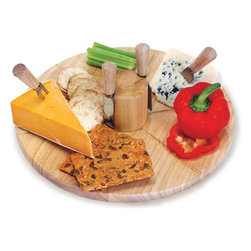 """Picnic Plus - Salerno Cheese Board, Wood - Picnic Plus Salerno Wooden Lazy Susan Cheese Board With 4 Cheese Knives, Wood. Color/Design: Wood; Large 14"""" diameter; Can accomodate a variety of cheeses, crackers, vegetables and dips for your dining enjoyment; Made with rubberwood and a turntable base; Unique magnetic wooden core which holds the 4 stainless steel cheese tools when not in use; Extremely functionable for entertaining. Dimensions: 14""""D x 1""""H"""