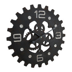 Zeckos - Weathered Finish Industrial Gear Wooden Wall Clock 15 in. - This weathered finish stylized mechanical gears wall clock will add an industrial accent to the wall of your bar, man cave, entertainment room or even the work garage Crafted from wood, it features a hand-painted weathered finish, big bold numbers on the clock face, and it requires just 1 AA battery (not included). This Steampunk inspired wall clock easily mounts using the attached hanger on the back. This 15.5 inch diameter, 1.5 inch deep (39 X 4 cm) fantastical gear styled wall clock makes a great gift for a Steampunk fanatic or gear head sure to be enjoyed
