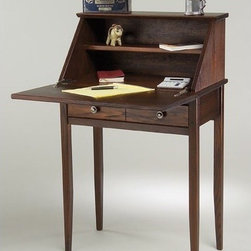 "Manchester Wood - Shaker Secretary Desk - Our Shaker Secretary Desk is a solid wood desk that's handmade for the home office; or perhaps as a great recipe desk in the kitchen, maybe a laptop computer desk in a study, or a perfect size for a work nook in a small living space. The Shaker Secretary Desk is a universal classic shaker desk with great storage design and strong Americana lines. Features: -Secretary desk.-Could be used as a recipe desk in the kitchen or for lap-top computer in the study.-Shaker style.-Made in USA.-Solid ash construction.-Distressed: No.-Country of Manufacture: United States.-Desk Type: Secretary/Roll Top Desks.-Powder Coated Finish: No.-Gloss Finish: No.-UV Finish: No.-Top Material : Wood.-Base Material: Wood.-Number of Items Included: 1.-Non-Toxic: Yes.-Water Resistant: No.-Stain Resistant: Yes.-Heat Resistant: No.-Style: Traditional.-Eco-Friendly: Yes.-Cable Management: No.-Keyboard Tray: No.-Height Adjustable: No.-Drawers Included: Yes -Number of Drawers: 1.-File Drawer: No.-Drawer Glide Material : Wood.-Safety Stop : No.-Locking Drawer: No.-Core Removable Drawer Locks: No.-Ball Bearing Glides: No.-Drawer Handle Design: Knobs.-Drawer Weight Capacity: 100 lbs..-Pencil Drawer: No.-Jewelry Tray: No.-Exterior Shelving : No.-Cabinets Included: Yes -Number of Cabinets: 1.-Number of Interior Shelves: 1.-Adjustable Interior Shelving: No.-Soft-Close Cabinets: No.-Locking Cabinet: Yes.-Core Removable Cabinet Locks: No.-Cabinet Handle Design: No..-Ergonomic Design: Yes.-Handedness: Both Left and Right.-Scratch Resistant: Yes.-Chair Included: No.-Legs Included: Yes -Number of Legs: 4.-Leg Material: Wood.-Leg Glides: No..-Casters Included: No.-Commercial Use: Yes.-Product Care: Dust as needed with soft cloth. Clean with damp cloth and mild solution of dish soap. Polish with soft cloth and polish that contains no pigment or silicone.-Weight Capacity: 100 lbs.-Solid Wood Construction: Yes.-Wood Tone: Dark Wood.-Swatch Available: Yes.-Recycled Content: No.Dimensions: -Drawer dimensions: 3'' H x 19.75'' W x 10.25'' D.-Lid dimensions: 24.75'' W x 13.25'' D.-Dimensions: 40'' Height x 25'' Width x 14'' Depth.-Overall Product Weight: 48 lbs.-Overall Height - Top to Bottom: 40.25"".-Overall Width - Side to Side: 25"".-Overall Depth - Front to Back: 14.75"".-Desk Return: -Desk Return Height - Top to Bottom: 10.5"".-Desk Return Width - Side to Side: 25"".-Desk Return Depth - Front to Back: 13"".-Desk Return Overall Weight: 5 lbs..-Cabinet: -Cabinet Interior Height - Top to Bottom: 10"".-Cabinet Interior Width - Side to Side: 22.5"".-Cabinet Interior Depth - Front to Back: 13.25""..-Shelving: -Shelf Height - Top to Bottom: Top: 4.75"" Bottom: 4.75"".-Shelf Width - Side to Side: Both: 22.25"".-Shelf Depth - Front to Back: Top: 5"" Bottom: 13.25""..-Desktop Height: 30"".-Desktop Width - Side to Side: 25"".-Desktop Depth - Front to Back: 12.75"".-Knee Space Height: 29"".-Knee Space Width: 25"".-Knee Space Depth: 12.75"".-Legs: -Leg Height: 28.75"".-Leg Width - Side to Side: 1.25"".-Leg Depth - Front to Back: 1.25""..Assembly: -Assembly required.-Assembly Required: Yes.-Tools Needed: Screwdriver, hammer.-Additional Parts Required: No."