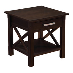 Simpli Home - Kitchener 20.5 inch Square End Table in Dark Walnut Brown - Good things really do come in small packages. Nothing could illustrate this better than the design of our Kitchener End Table which features one drawer and one bottom shelf providing plenty storage space. The table is sized perfectly to allow room for a table lamp, book and family photos. A perfect companion to any sofa, arm chair or bed.