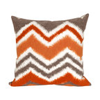 """Trans-Ocean Inc - Zigzag Ikat Orange 20"""" Square Indoor Outdoor Pillow - The highly detailed painterly effect is achieved by Liora Mannes patented Lamontage process which combines hand crafted art with cutting edge technology. These pillows are made with 100% polyester microfiber for an extra soft hand, and a 100% Polyester Insert. Liora Manne's pillows are suitable for Indoors or Outdoors, are antimicrobial, have a removable cover with a zipper closure for easy-care, and are handwashable.; Material: 100% Polyester; Primary Color: Orange;  Secondary Colors: grey, white; Pattern: Zigzag Ikat; Dimensions: 20 inches length x 20 inches width; Construction: Hand Made; Care Instructions: Hand wash with mild detergent. Air dry flat. Do not use a hard bristle brush."""
