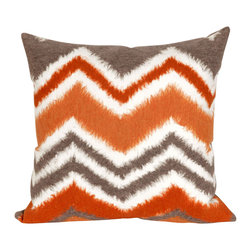"Trans-Ocean Inc - Zigzag Ikat Orange 20"" Square Indoor Outdoor Pillow - The highly detailed painterly effect is achieved by Liora Mannes patented Lamontage process which combines hand crafted art with cutting edge technology. These pillows are made with 100% polyester microfiber for an extra soft hand, and a 100% Polyester Insert. Liora Manne's pillows are suitable for Indoors or Outdoors, are antimicrobial, have a removable cover with a zipper closure for easy-care, and are handwashable.; Material: 100% Polyester; Primary Color: Orange;  Secondary Colors: grey, white; Pattern: Zigzag Ikat; Dimensions: 20 inches length x 20 inches width; Construction: Hand Made; Care Instructions: Hand wash with mild detergent. Air dry flat. Do not use a hard bristle brush."