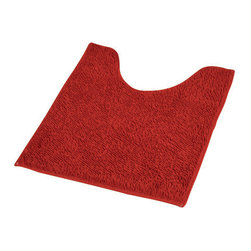 Polyester Toilet Contour Rug Red - This toilet contour rug is 100% polyester. Let this ultra-soft touch and luxurious toilet mat add fresh colors to your bathroom. It prevents slips with its non-skid latex backing. Machine wash cold and no dryer. Width 17-Inch and length 20-Inch. Indoor use only. Color red. Add underfoot softness and make a luxurious addition to your bathroom decor with this unique toilet contour rug! Complete your decoration with other products of the same collection. Imported.