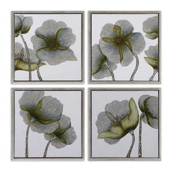 Handpainted Contemporary Floral Wall Art Set of 4 - *This hand painted artwork on canvas features a high gloss finish on the flowers.