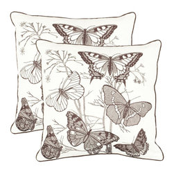 Safavieh - Safavieh Flutter Pillow (2) X-2TES-8181-A768LIP - Botanical drawings of various species of butterflies add an artful look to the living room or bedroom. The overall brown and beige motif is printed on an off-white ground of 55% cotton and 45% linen.