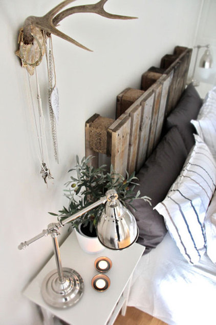 eclectic  re-purposed materials and headboard.
