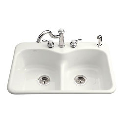 KOHLER - KOHLER K-6626-4-7 Langlade Smart Divide Self-Rimming Kitchen Sink - KOHLER K-6626-4-7 Langlade Smart Divide Self-Rimming Kitchen Sink in Black