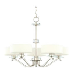 Possini Brushed Steel and Opal Glass Chandelier