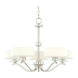 Possini Brushed Steel and Opal Glass Chandelier - Here is a simple, modern chandelier that's super affordable.