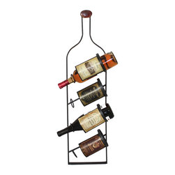 ecWorld - Urban Designs Metal Wall 4 Bottle Wine Rack Display - Just the size for narrow spaces, this wall-mounted wine rack securely and beautifully displays your favorite vintage wines. Stamped wine holders lend depth to the wine bottle shape, so the rack looks great whether it is empty or full.