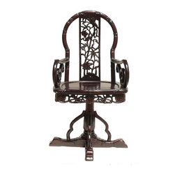 Golden Lotus - Chinese Redwood Carved Swivel Armchair - This armchair is a combination of base and the top seat, the base and the top seat is a loose joint which let it swivels. The wood material is carved into a bamboo look pattern. It is a decorative function piece for the modern home.
