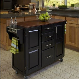 """Home Styles - Create-A-Cart Kitchen Cart - Home Styles Create-a-cart with a .75"""" finished top features solid wood construction, and four cabinet doors that open to storage. Features: -Four-utility drawers.-Two cabinet doors open to storage with shelves inside.-Handy spice rack with towel bar, paper towel holder.-Heavy duty locking rubber casters for easy mobility and safety.-Create-A-Cart collection.-Product Type: Kitchen Cart.-Collection: Create-a-Cart.-Counter Finish: Oak wood.-Hardware Finish: Brushed Steel.-Distressed: No.-Powder Coated Finish: No.-Gloss Finish: No.-Base Material: Wood.-Counter Material: Oak Wood.-Hardware Material: Brushed steel.-Solid Wood Construction: Yes.-Number of Items Included: 1.-Water Resistant or Waterproof Cushions: No.-Stain Resistant: No.-Warp Resistant: No.-Exterior Shelves: No.-Drawers Included: Yes -Number of Drawers: 4.-Push Through Drawer: No..-Cabinets Included: Yes -Number of Cabinets : 2.-Double Sided Cabinet: No.-Adjustable Interior Shelves: Yes.-Number of Doors: 2.-Locking Doors: No.-Door Handle Design: Linear pulls..-Towel Rack: Yes -Removable Towel Rack: No..-Pot Rack: No.-Spice Rack: Yes .-Cutting Board: No.-Drop Leaf: No.-Drain Groove: No.-Trash Bin Compartment: No.-Stools Included: No.-Casters: Yes -Locking Casters: Yes.-Removable Casters: No..-Wine Rack: No.-Stemware Rack: No.-Cart Handles: No.-Finished Back: Yes.-Commercial Use: No.-Recycled Content: No.-Eco-Friendly: No.-Product Care: Clean with a damp cloth.Specifications: -ISTA 3A Certified: Yes.Dimensions: -Overall Height - Top to Bottom: 35.5"""".-Overall Width - Side to Side: 48"""".-Overall Depth - Front to Back: 17.75"""".-Width Without Side Attachments: 44.5"""".-Height Without Casters: 31.75"""".-Countertop Thickness: 0.75"""".-Countertop Width - Side to Side: 44.5"""".-Countertop Depth - Front to Back: 17.75"""".-Shelving: -Shelf Width - Side to Side: 12.5"""".-Shelf Depth - Front to Back: 12.75""""..-Leaf: No.-Drawer: -Drawer Interior Height - Top to Bottom (Small Drawers) : 3"""".-Dra"""