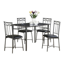 Monarch Specialties - Monarch Specialties I 1036 Grey Marble / Charcoal Metal 5 Piece Dining Room Set - This five piece dining set includes a sleek, grey marble table with charcoal tube metal legs and a decorative apron that will bring a touch of style to your home. The chairs that are featured echo the decorative accents of the table and also have vertical slat backs and plush cushion seats for added comfort. This set is ideal for smaller dining spaces like in apartments and condos. Dining Table (1), Dining Chair (4)