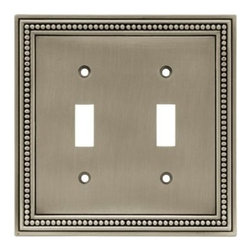 Liberty Hardware - Liberty Hardware 64772 Beaded WP Collection 4.96 Inch Switch Plate - The Beaded design adds elegance and sophistication to every room. The satin nickel finish brings distinguished style and grace to any room. Quality zinc die cast base material. Available in the 10 most popular wall plate configurations. Width - 4.96 Inch, Height - 5 Inch, Projection - 0.3 Inch, Finish - Brushed Satin Pewter, Weight - 0.54 Lbs.