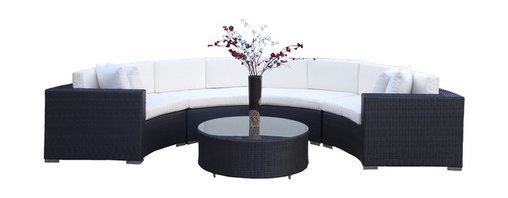 MangoHome - Outdoor Patio Furniture Wicker Sofa Sectional Round 5pc Resin Couch Set - Outdoor Patio Furniture Wicker Sofa Sectional Round 5pc Resin Couch Set
