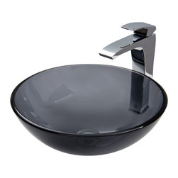 Vigo - Sheer Black Glass Vessel Sink and Faucet Set in Chrome - The VIGO Sheer Black glass vessel sink with Chrome faucet set is bold and masculine.